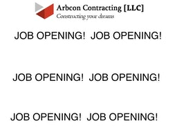 JOB OPENING at ARBCON CONTRACTORS