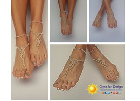 Silver Wedding Shoes, Wedding Bare Sandals, Bridal barefoot sandals, Foot jewelry, Wedding sandals, Footless sandals, Boho anklet, Beach barefoot sandals,  Wedding sandals, Silver and crystal bare sandals, Beach wedding shoes