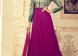 BLOOMING FUCHSIA AND GREEN DESIGNER FLOOR LENGTH SALWAR SUIT