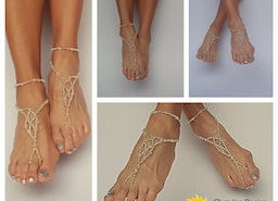 Wedding Bare Sandals, Silver Wedding Shoes, Bridal barefoot sandals, Foot jewelry, Wedding sandals, Footless sandals, Boho anklet, Beach barefoot sandals, Silver and crystal bare sandals, Beach wedding shoes, Gift for her, Wedding proposal