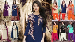 Punjabi Suits Boutique Designs Dresses: Latest Designer Patiala Salwar Kameez Suit With Laces Online