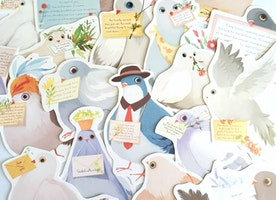 30 letter birds paper card embellishment carrier pigeon bird carrying letter postcard bird theme pigeon bird die cut decor mixed media gift