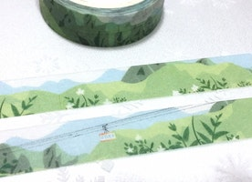 spring landscape cable car washi tape 7M Green tone green hills Green tree Masking tape green world green scenes landscape green tape decor