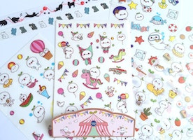 6 Sheets cute characters sticker set kawaii cartoon funny plants baby plants diary sticker happy animal pet planner sticker kids party gift
