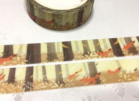 fox in forest washi masking tape 7M autumn woodland washi tape Forest animal running in forest foxy masking tape sticker tape gift wrapping