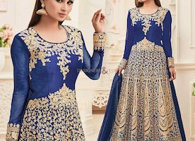 Appealing Blue Embroidered Art Silk Celebrity Dress By Mouni Roy