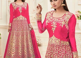 Gorgeous Pink Embroidered Art Silk Bollywood Style Suit