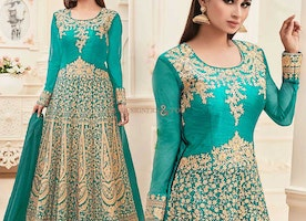 Charming Green Embroidered Art Silk Bollywood Mouni Roy Starrer