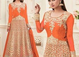 Ephemeral Orange Embroidered Art Silk Bollywood Gown Design