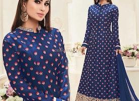 Delightful Blue Embroidered Art Silk Mouni Roy Celebrity Dress