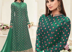 Pretty Green Embroidered Art Silk Celebrity Dress Online