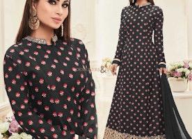 Elegant Black Embroidered Art Silk Bollywood Heroine Suit