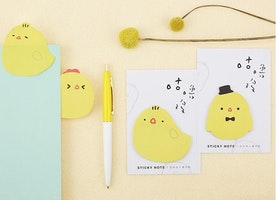 yellow chicken sticky note little chick cute chick memo paper note yellow baby bird chicken theme die cut paper decor mixed media gift