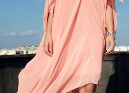 This coral maxi dress from Teyxo will catch everyone's attention