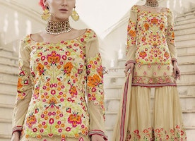 Pleasing Beige Embroidered Art Silk And Net Designer Suit For Women