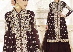 Bewitching Brown Embroidered Georgette Designer Dress For Ladies