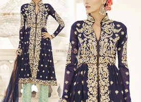 Good Looking Blue Embroidered Georgette Designer Suit For Ladies