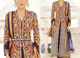 Lovely Blue Embroidered Georgette Designer Suit For Fashionistas