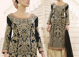 Appealing Black Embroidered Georgette Indo Western Suit For Fashionables