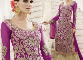 Gorgeous Purple Embroidered Georgette Party Wear Dress