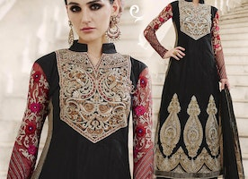 Charming Black Embroidered Net Party Wear Suit