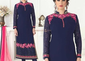 Alluring Blue Embroidered Georgette Pakistani Shalwar Kameez