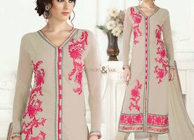 Decent Cream Embroidered Georgette Latest Aline Suit For Fahsionables