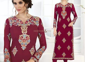 Heavenly Maroon Embroidered Georgette Pakistani Salwar Suit For Girls