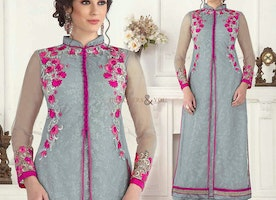 Stunning Grey Embroidered Georgette Pakistani Boutique Dress