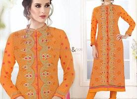 Irresistible Orange Embroidered Georgette Pakistani Salwar Kameez
