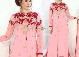 Artistic Peach Embroidered Georgette Pakistani Dress For Party