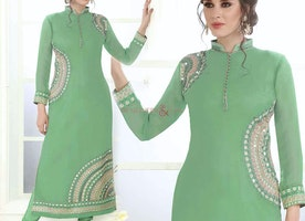 Exquisite Green Embroidered Georgette Paki Fashion Dress Usa Style