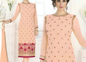 Aesthetic Peach Embroidered Georgette Pak Style Suit For Ladies