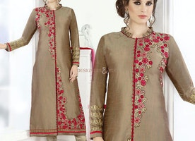 Divine Brown Embroidered Art Silk Aline Dress For Party