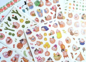 6 Sheet cute rabbit sticker lovely bunny cartoon sticker rabbit theme rabbit planner sticker pet monster funny rabbit fat rabbit icon label