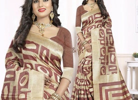 Decent Beige And Brown Printed Art Silk Trendy Sari With Blouse