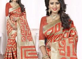 Pleasing Beige And Orange Printed Art Silk Latest Party Wear Sari