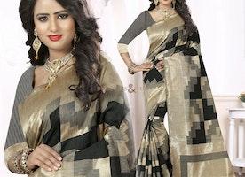 Pretty Beige And Black Printed Art Silk Party Saree Online