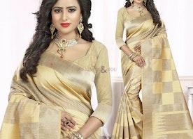 Elegant Beige And Mustard Printed Art Silk Party Sari Online