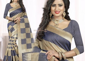 Alluring Grey And Gold Printed Art Silk Trendy Saree With Blouse