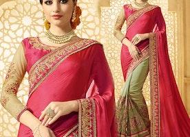 Elegant Pink And Green Raw Silk Embroidered Half Sari Online