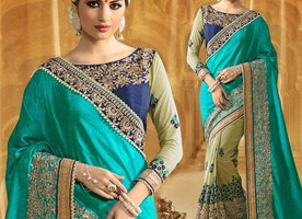 Alluring Sky Blue And Green Raw Silk Half Saree Design