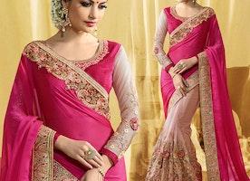 Decent Pink And Peach Raw Silk Embroidered Half Sari Design
