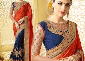 Heavenly Orange And Blue Raw Silk Latest Half Saree