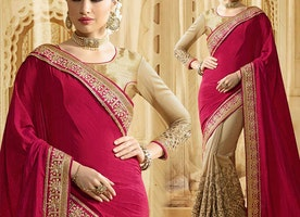 Irresistible Red And Beige Raw Silk Latest Half Sari