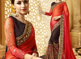 Artistic Red And Brown Raw Silk Half Saree With Blouse