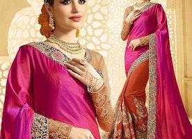 Exquisite Pink And Orange Raw Silk Embroidered Half Sari