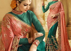 Aesthetic Peach And Green Raw Silk Half And Half Saree