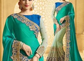 Beautiful Green Raw Silk Embroidered Half And Half Sari