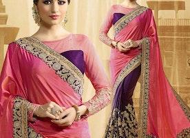 Attractive Pink And Purple Raw Silk Half Saree Design